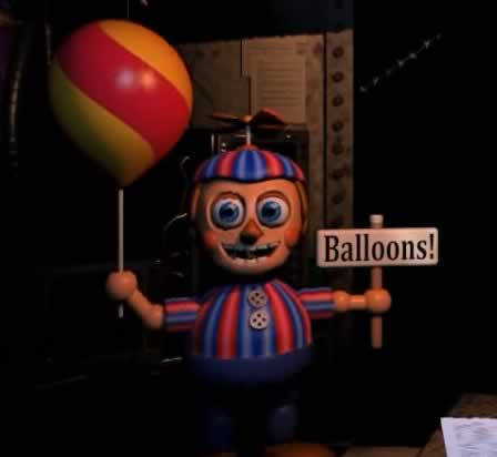 O temido Garoto do balão Balloon Boy de Five Nights at Freddys 2