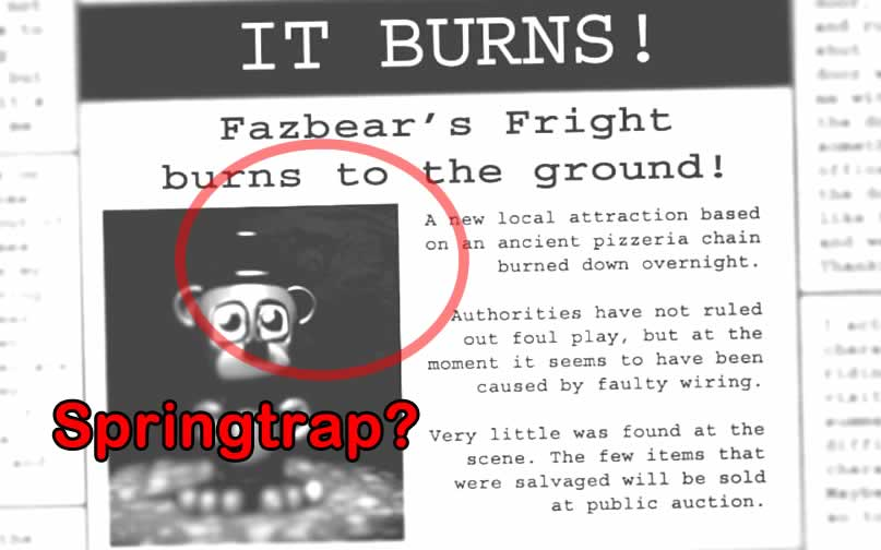 Springtrap aparece no jornal no final do jogo five nights at freddy's 3