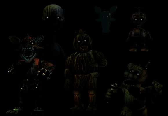 Todos os Animatrônicos fantasmas de Five Nights At Freddy's.