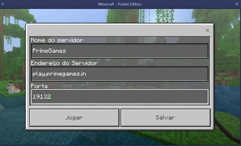 Adicionando os dados do servidor no Minecraft Pocket Edition
