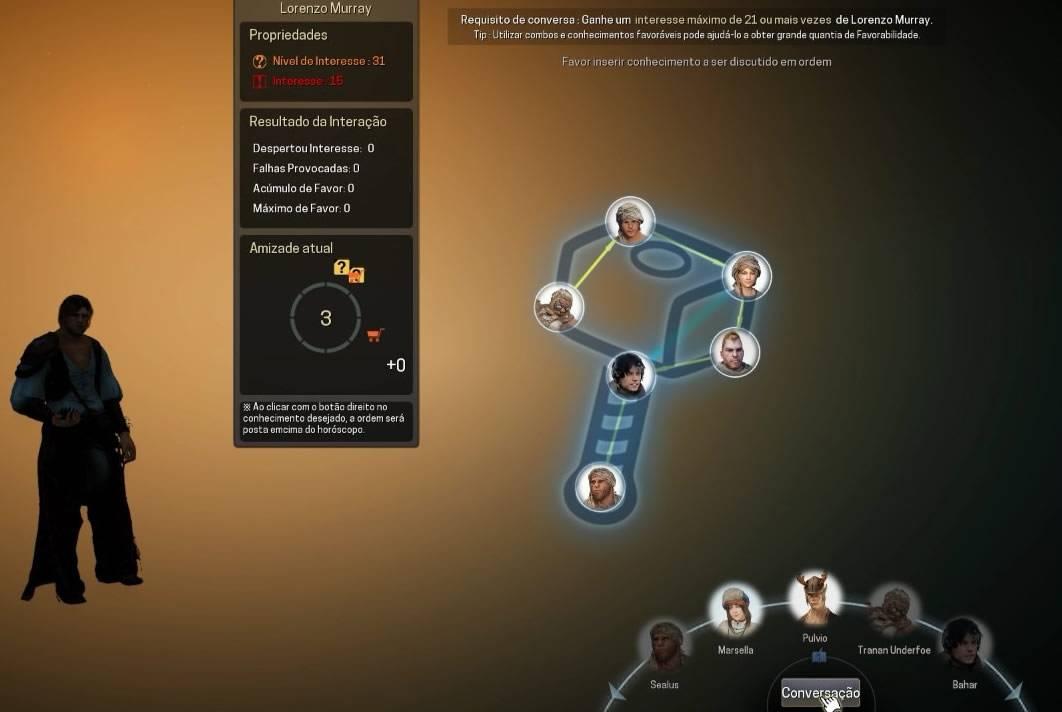 Tela do minigame de amizade com NPC de Black Desert Online