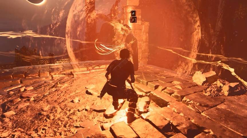 Amaru envolto da bola de energia Shadow of the Tomb Raider