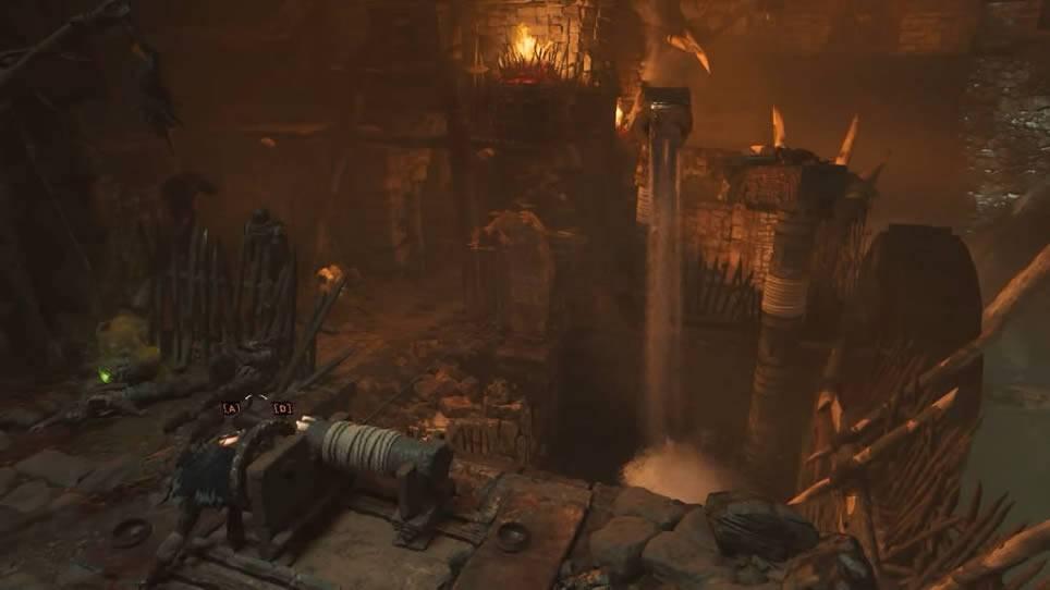 Lara virando a estátua que jorra água em Shadow of the Tomb Raider