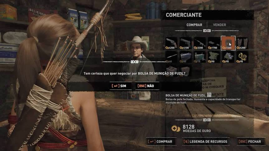 comprando bolsa de expansão do comerciante Shadow of the Tomb Raider