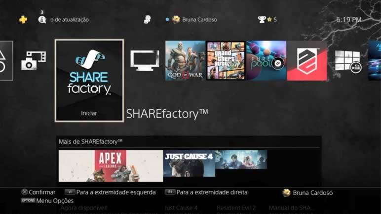 Abrindo o SHAREfactory do PS4